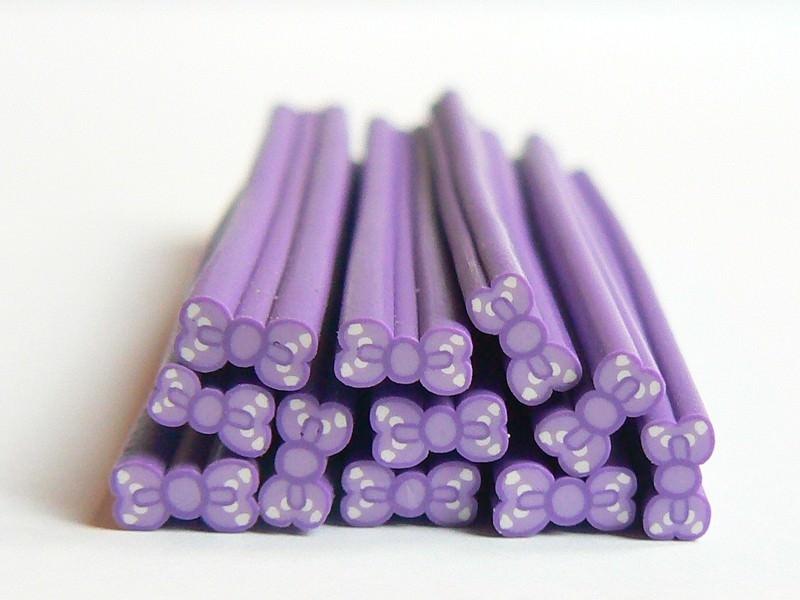 Cane noeud violet à pois- modelage et pâte fimo  - 1