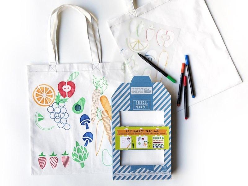 Kit Tote Bag à décorer - Je vais au marché