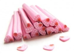 Heart cane - pink, with polka-dots, and a strawberry