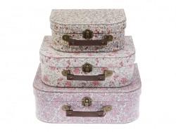3-teiliges Kofferset - Vintagelook / Blumenmuster