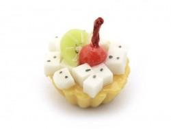 1 Miniaturkuchen / Miniaturcupcake - mit Kirschen und exotischen Früchten