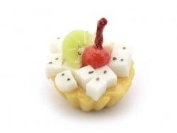 1 tarte / cupcake miniature - cerise et fruits exotiques  - 1