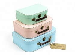 3-teiliges Kofferset - Retrolook / Pastellfarben