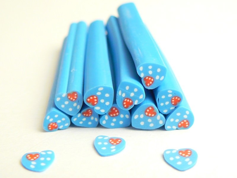 Heart cane - blue with polka-dots and a strawberry