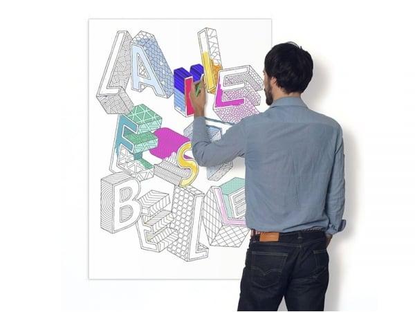 Affiche à colorier pour les grands - LA VIE EST BELLE