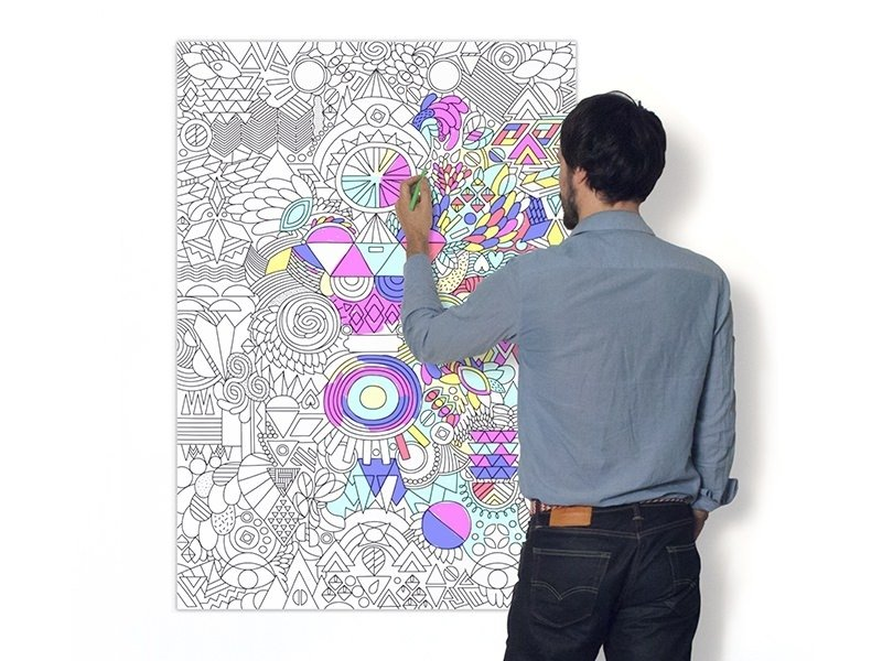 """Colouring poster for grown-ups - """"Happy Patchwork"""""""