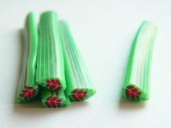 Leaf cane - green with a red heart