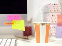8 gobelets en papier - Rayures oranges