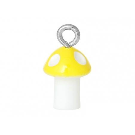 1 breloque en plastique champignon jaune  - 1