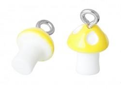 1 breloque en plastique champignon jaune