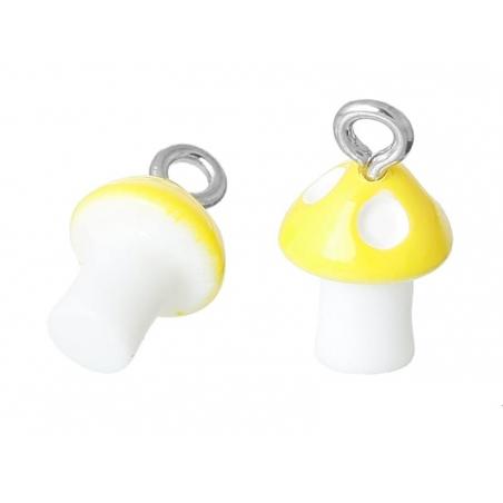 1 breloque en plastique champignon jaune  - 2