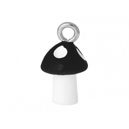 1 breloque en plastique champignon noir  - 1