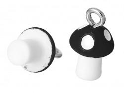 1 breloque en plastique champignon noir