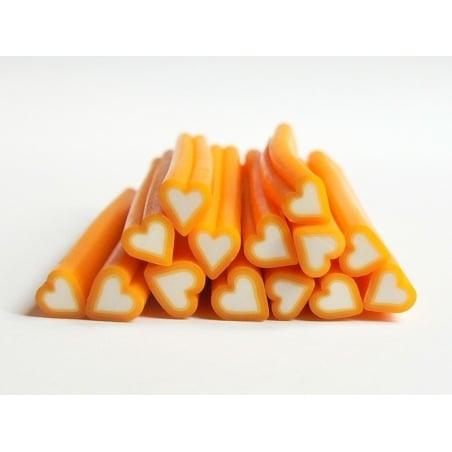 Cane coeur orange- en pâte fimo - à trancher  - 1