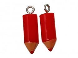 1 breloque en plastique crayon rouge