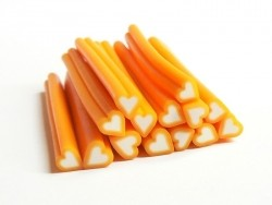 Cane coeur orange- en pâte fimo - à trancher