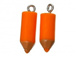 1 breloque en plastique crayon orange