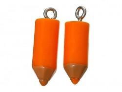 1 orangefarbener Buntstiftanhänger aus Kunststoff