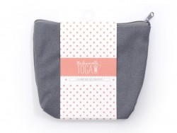 Charcoal-grey deep zipped pouch - Size M