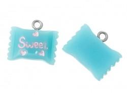 1 breloque en plastique sachet bonbons bleu