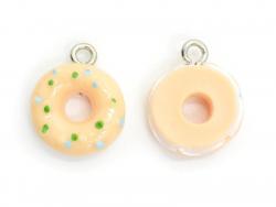 1 breloque en plastique donut saumon et blanc