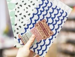 1 pochette cadeau - Vagues bleues