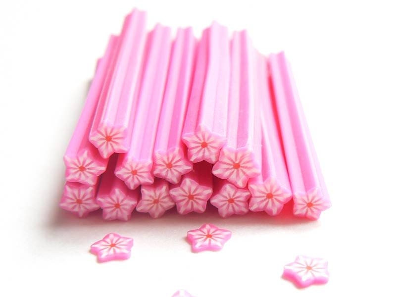 Star cane - pink with stripes