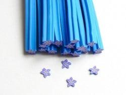 Cane fleur bleu étoilée- en pâte fimo - à trancher  - 1