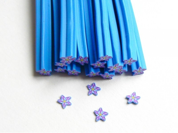 Flower cane - blue, star-shaped