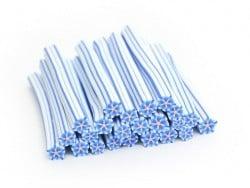Cane fleur étoilée blanche et rayure bleue   - 1