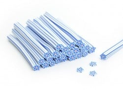 Cane fleur étoilée blanche et rayure bleue