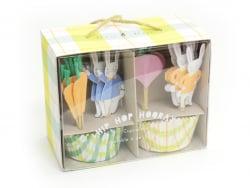 Set de 24 caissettes à cupcakes et 24 toppers - Pâques