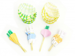 Set of 24 cupcake cases and 12 toppers - Easter