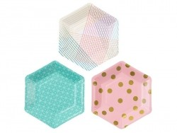12 paper plates with geometric patterns - 18 cm