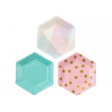 12 assiettes en papier géométriques - 18 cm