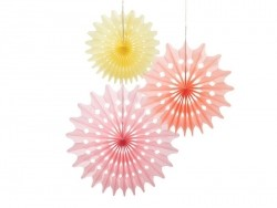 Set of 3 tissue paper honeycombs balls - sorbet colours