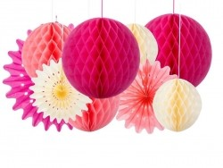 Set of 3 tissue paper honeycombs balls - sorbet colours