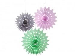 3-teiliges Set mit Wabenbällen aus Seidenpapier - angesagte Farben