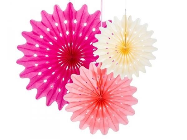 Lot de 3 rosaces en papier de soie - couleur girly Talking tables - 1