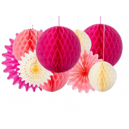 Lot de 3 rosaces en papier de soie - couleur girly Talking tables - 2