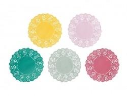 100 small doilies - loud colours