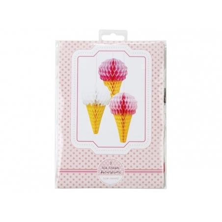 3 paper honeycomb ice-cream cones