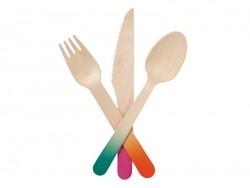 Couverts en bois à customiser : 1 fourchette, 1 couteau, 1 cuillère