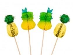 12 Dekorationen/Sektquirle in Ananasform zur Dekoration von Cocktails und Speisen