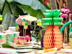 12 pink pineapple toppers for decorating cocktails and food
