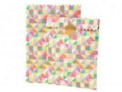 10 pochettes cadeaux - rayures couleurs assorties