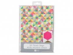 10 gift bags with a geometric design + matching stickers
