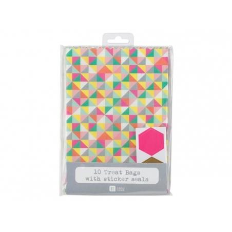 10 pochettes cadeaux géométriques + Stickers assortis