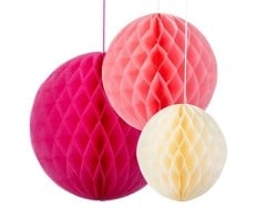 Set of 3 tissue paper honeycombs - girly colours