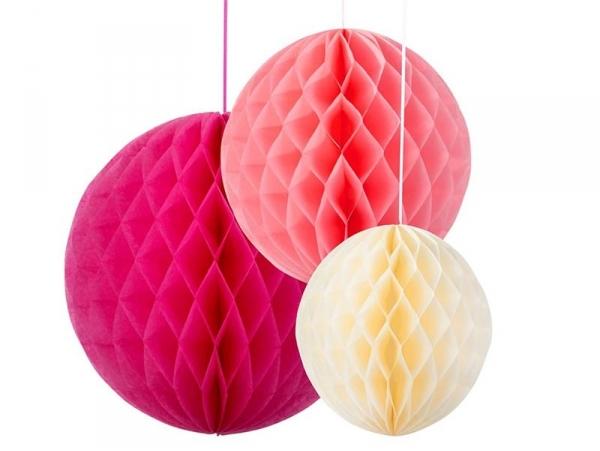 Lot de 3 boules alvéolées en papier de soie - couleurs girly